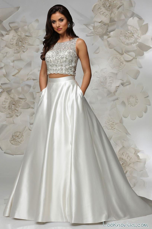 vestido de novia crop top de cristiano lucci