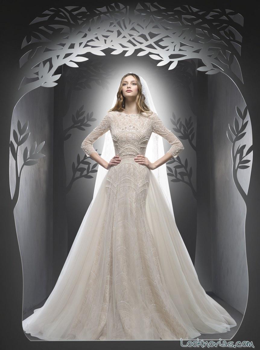 vestido de novia doble falda con media manga