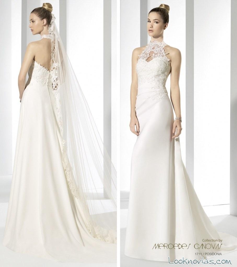 vestido de novia escote halter encajes