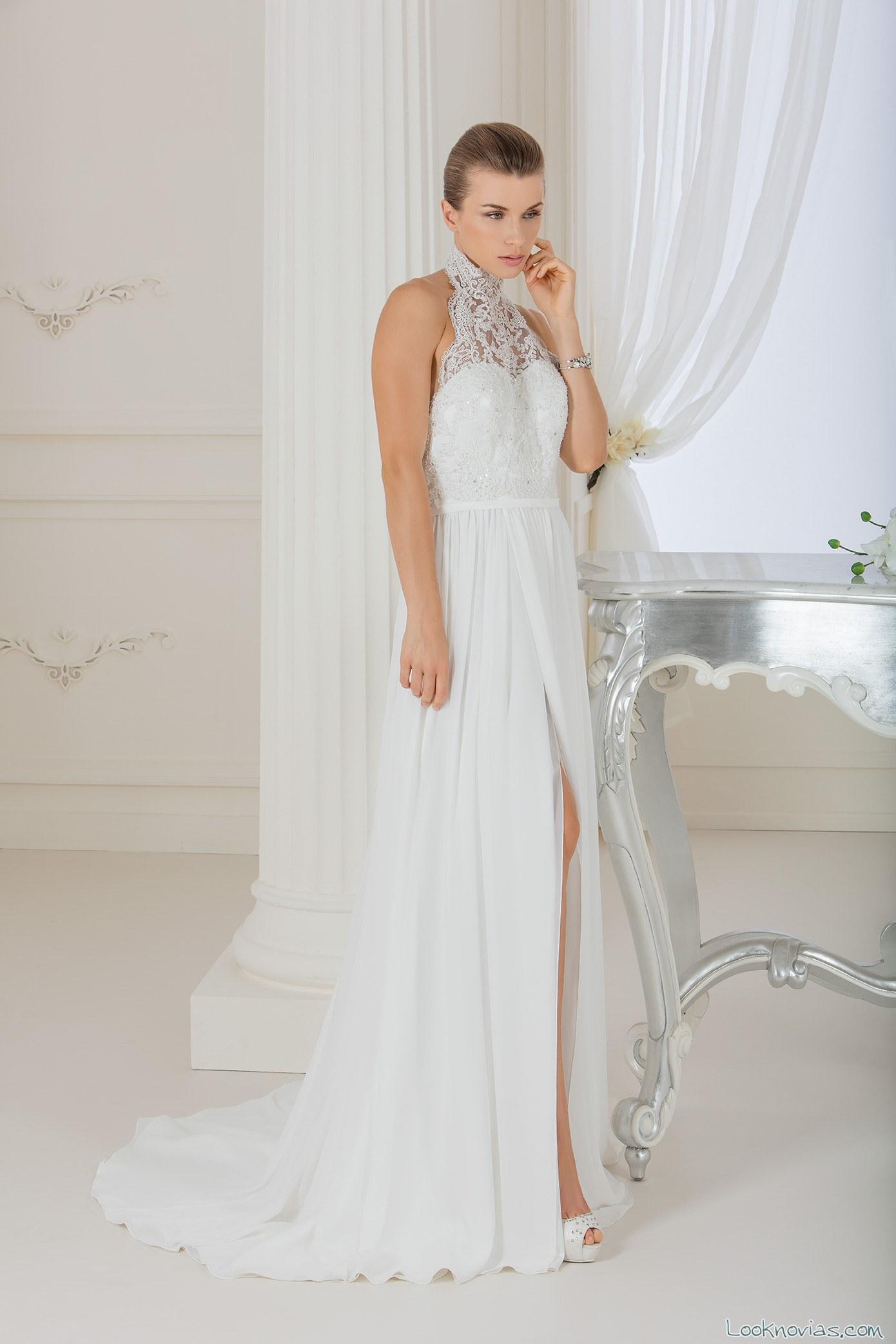 vestido de novia escote halter impero sposa