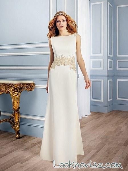 vestido de novia griego con bordados dorados