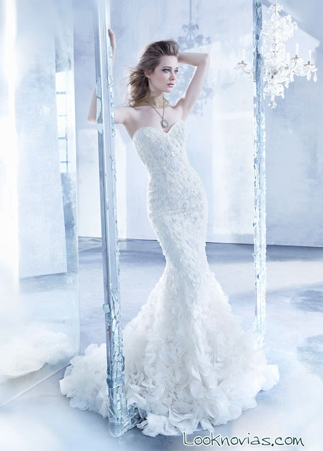 vestido de novia Lázaro en blanco