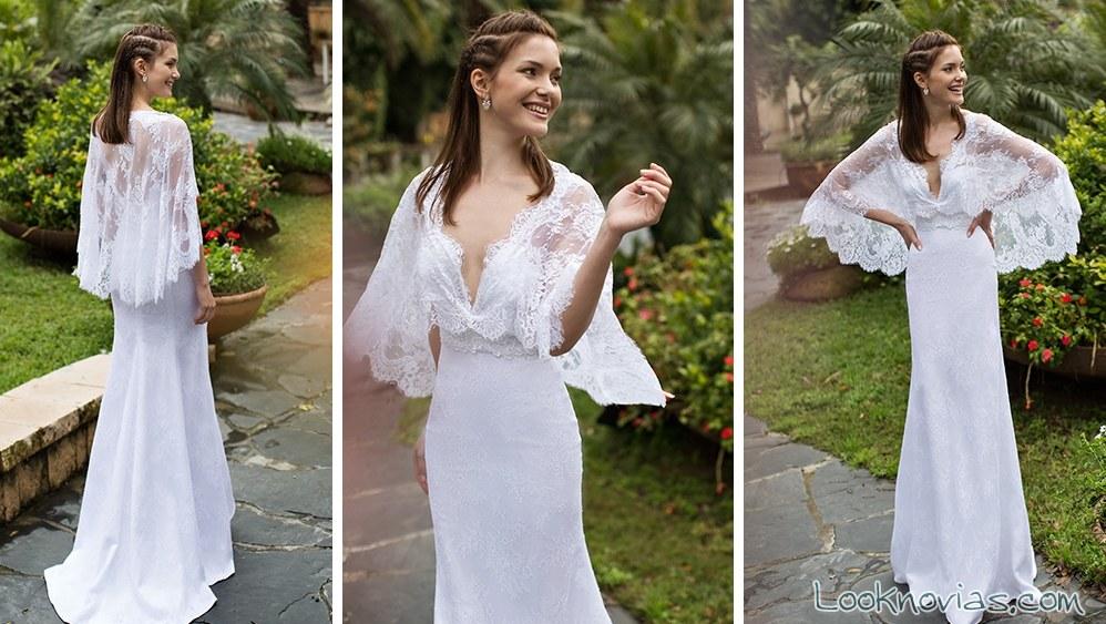 vestido de novia recto con capa de noya bridal
