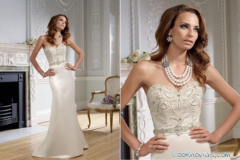 vestido de novia recto con pedrería