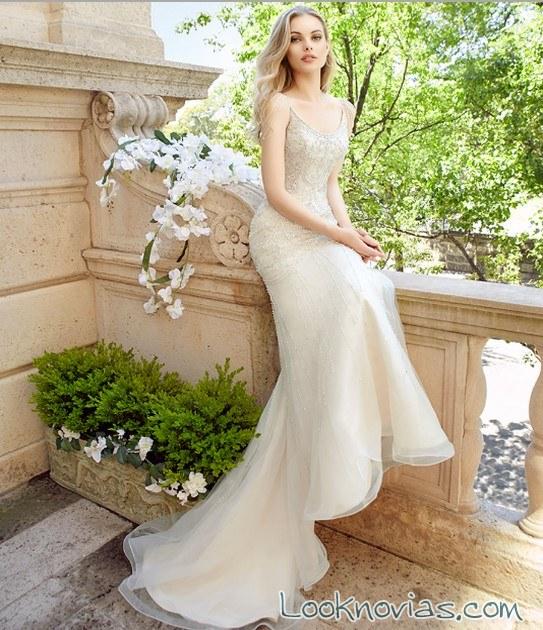 vestido de novia recto sencillo alta costura