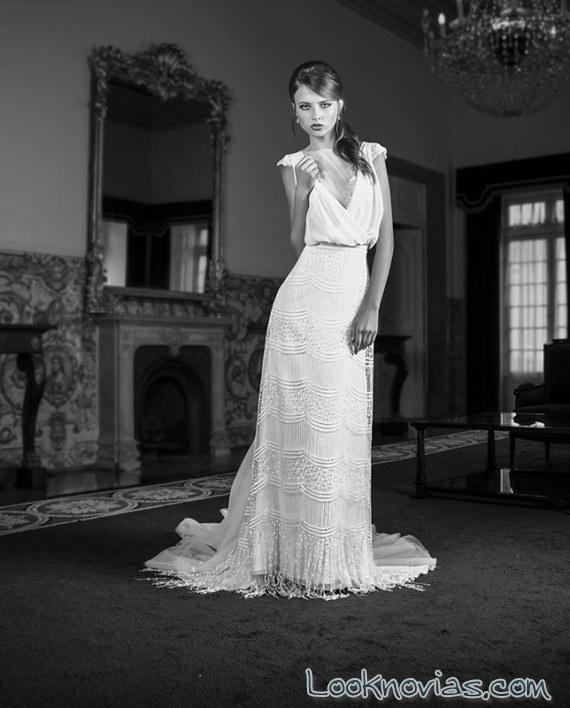 vestido de novia recto sencillo maria karin