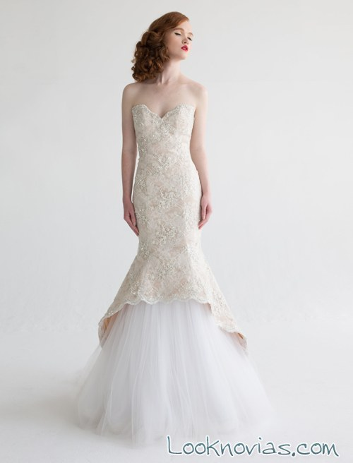 vestido de novia recto sirena aria