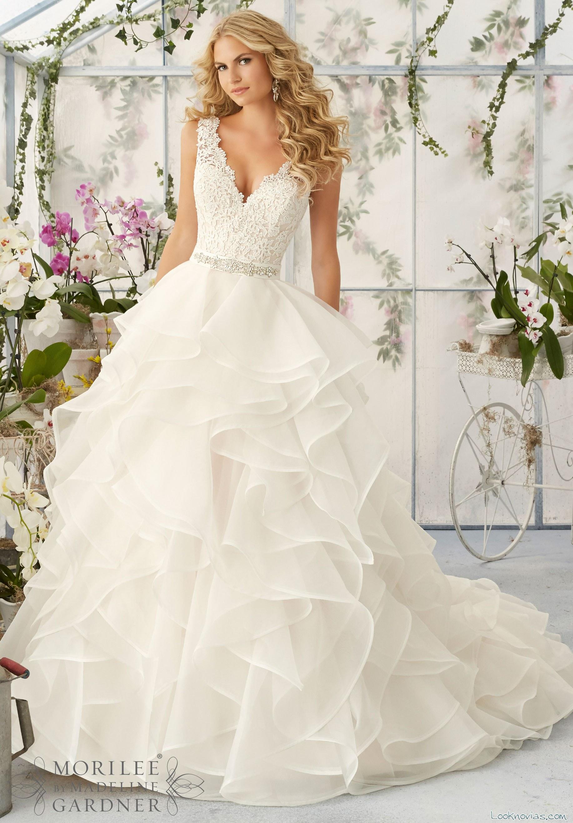 vestido de novia romántica por Mori Lee 2016