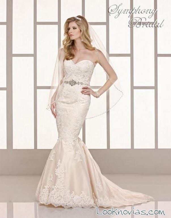 vestido de novia sirena con cinturón de symphony bridal