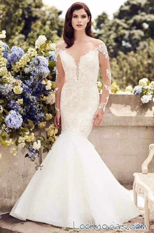 vestido de novia sirena con escotes paloma blanca