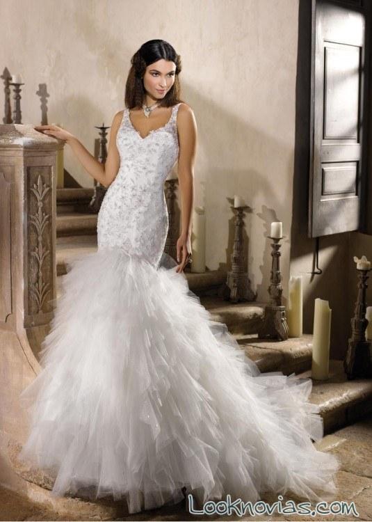 Vestido de novia sirena con falda de tul
