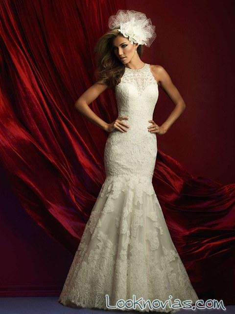 vestido de novia sirena con tocado