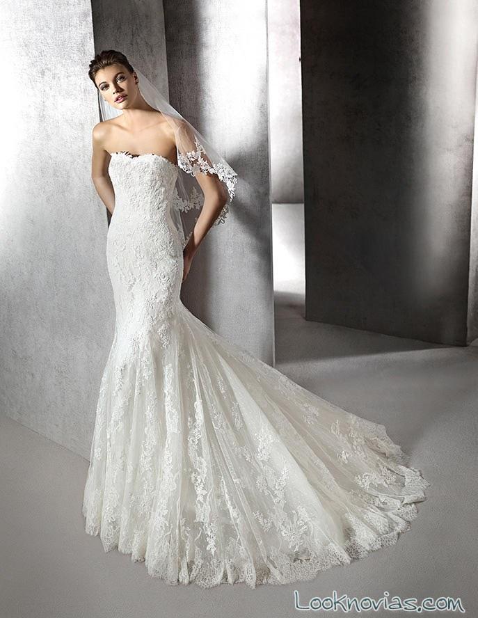 vestido de novia sirena strapless san patrick