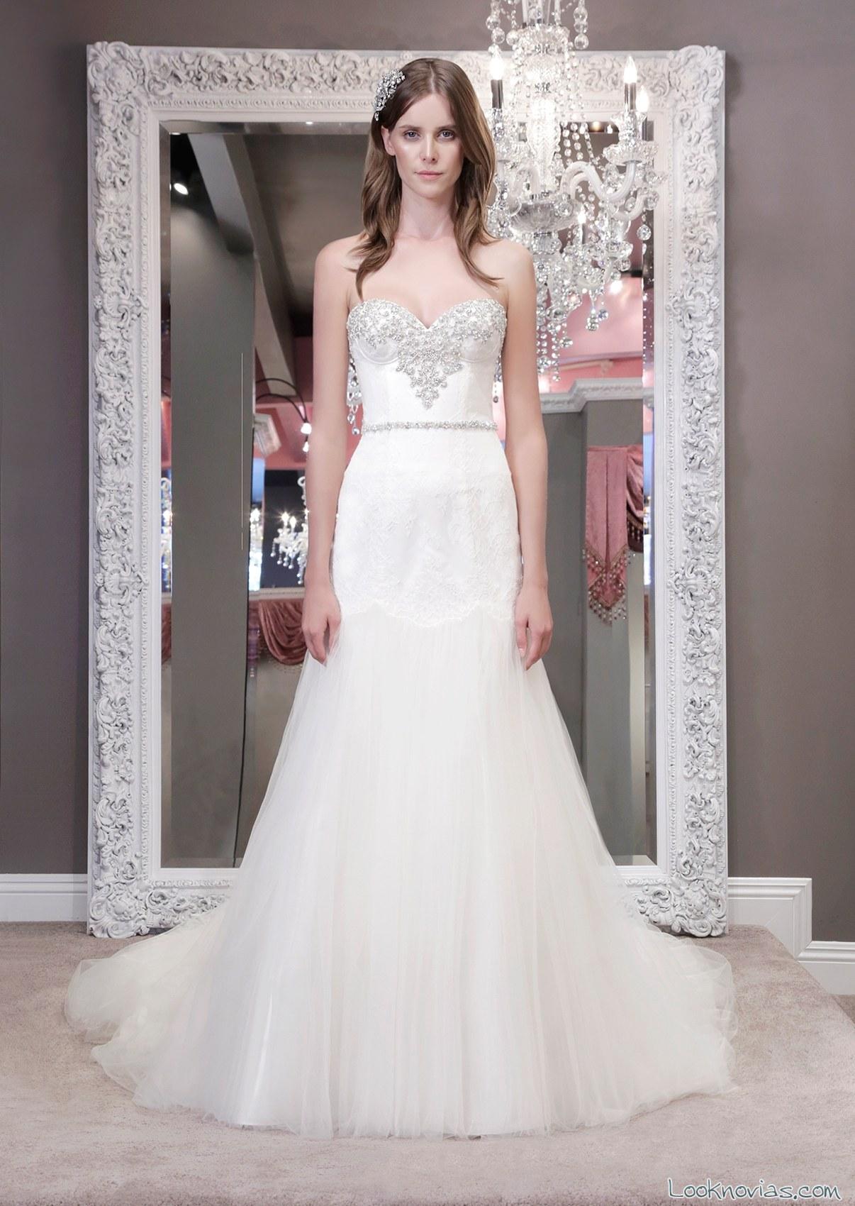 vestido de novia winnie con cuerpo decorado