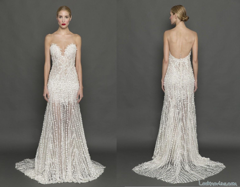 vestido escote corazón novias con transparencias