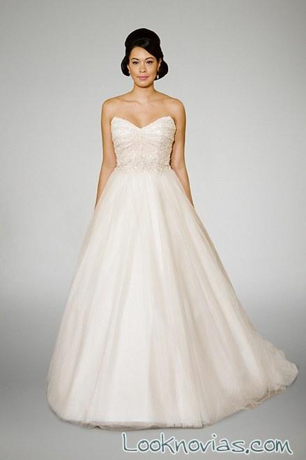 vestido evasé blanco de novias Matthew