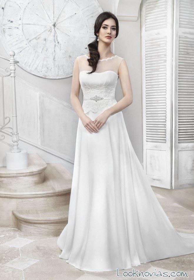 vestido evasé blanco para novias 2017