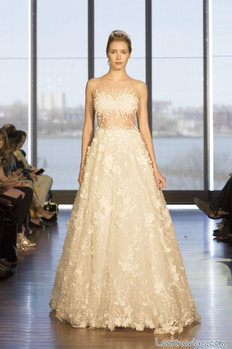 vestido evasé con transparencias francesca miranda