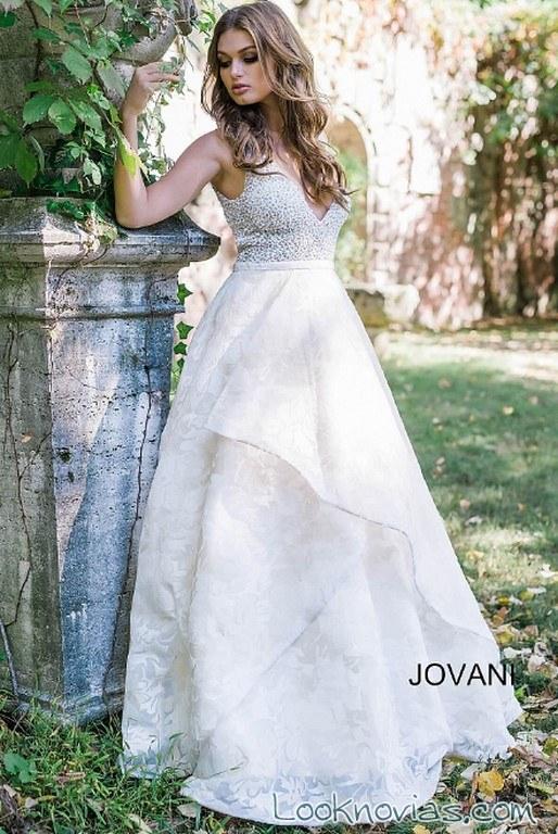 vestido falda volantes novias jovani