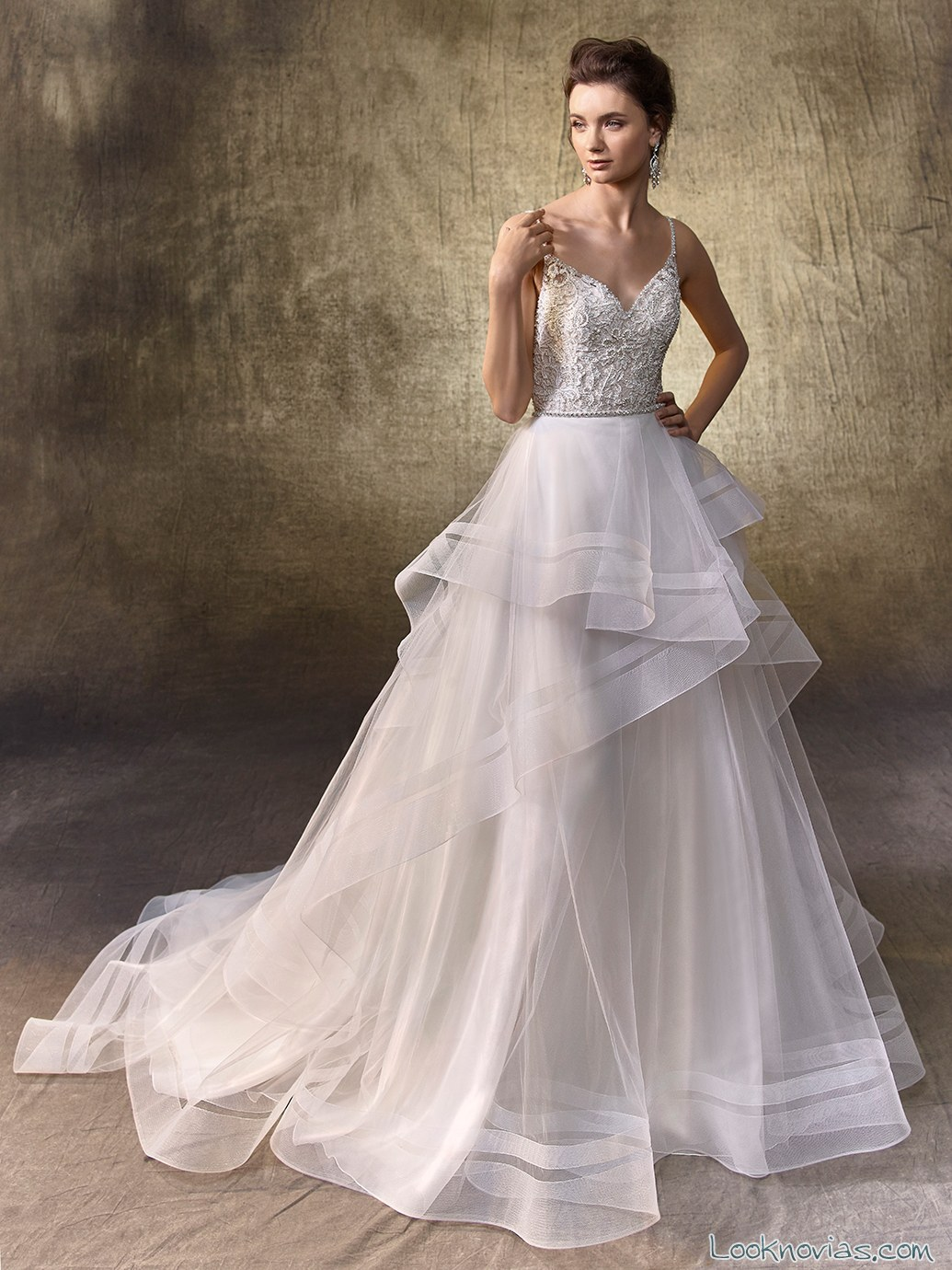 Vestido faldas de volantes novias 2017