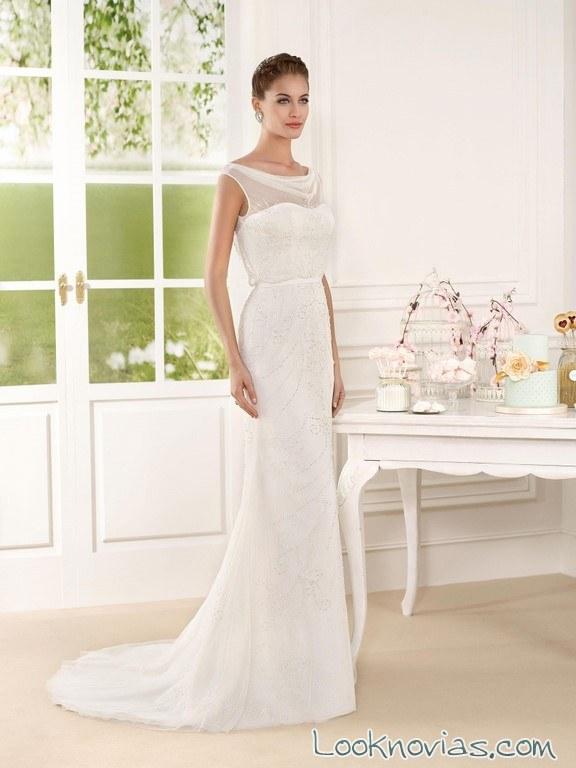 vestido fara sposa con escote fantasía