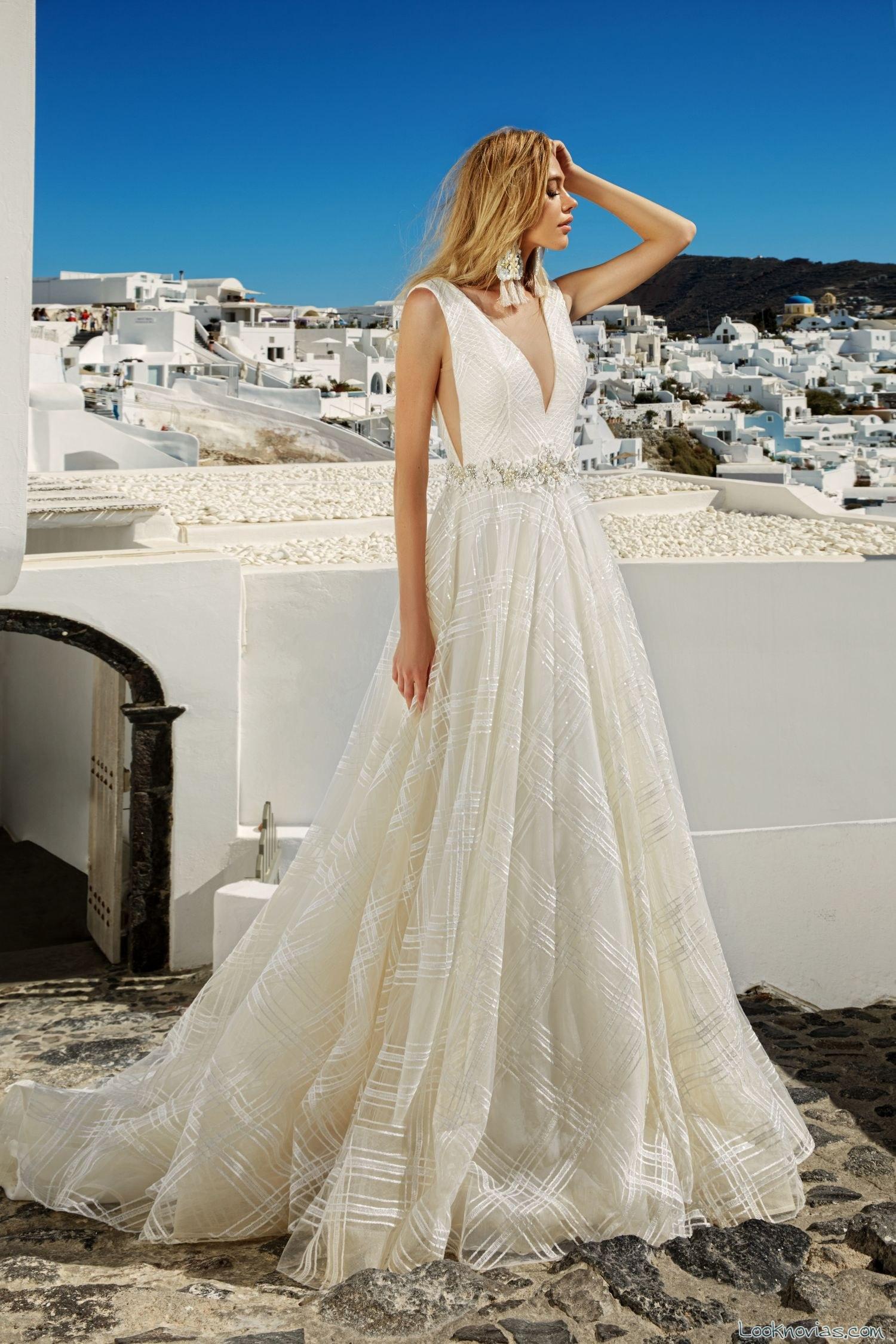 vestido gasa con tirantes para novias