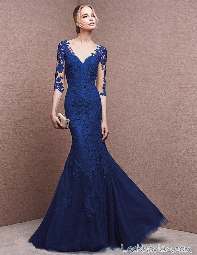 vestido largo azul para fiestas