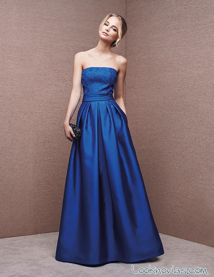 vestido largo azul satinado de san patrick