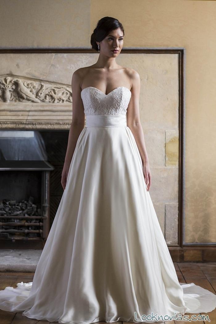 vestido largo de novia evasé con tejido satinado