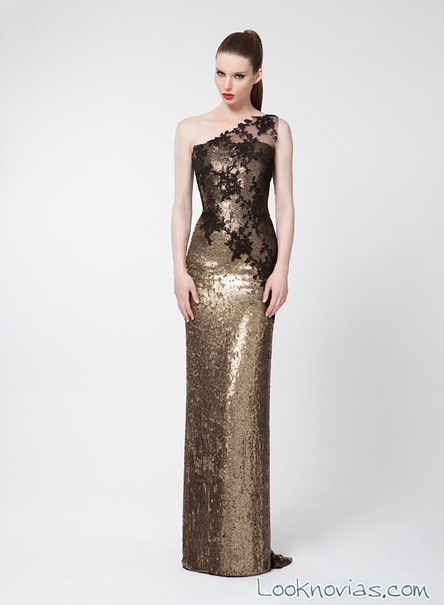 vestido largo dorado y negro