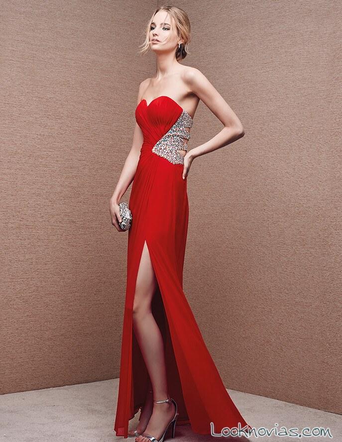 vestido largo para boda en color rojo