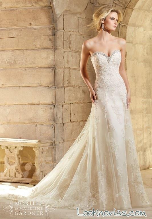 vestido largo sirena para novias 2016