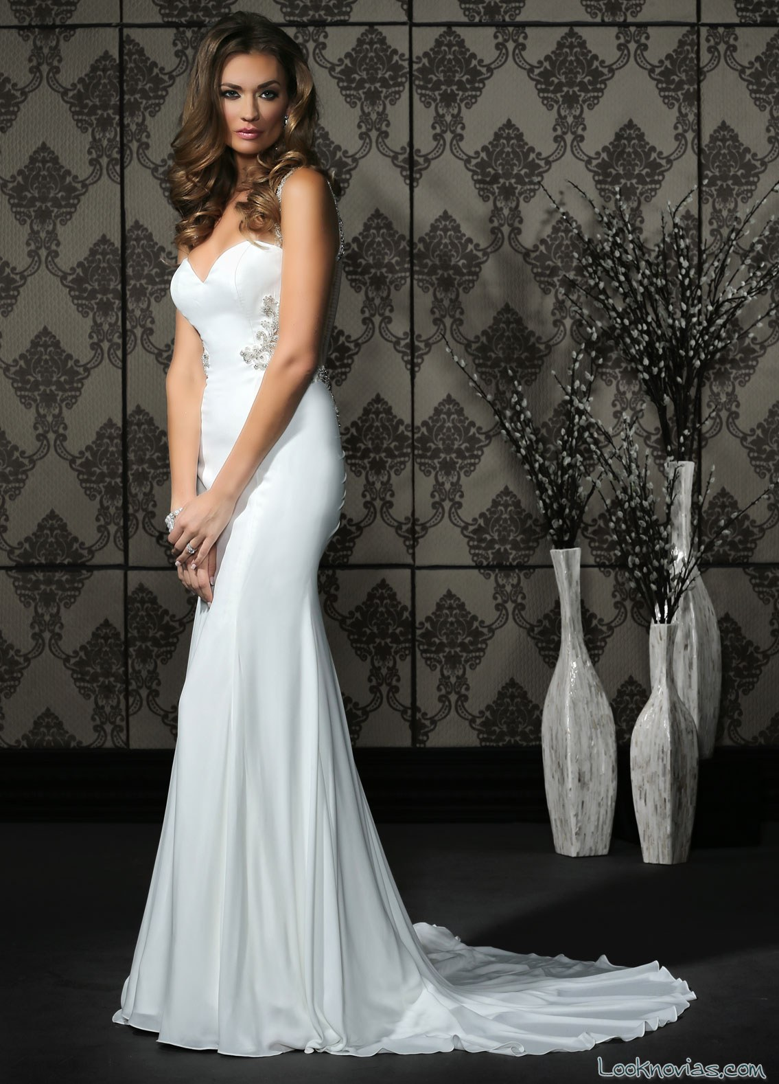 vestido liso sirena impression bridal 2017