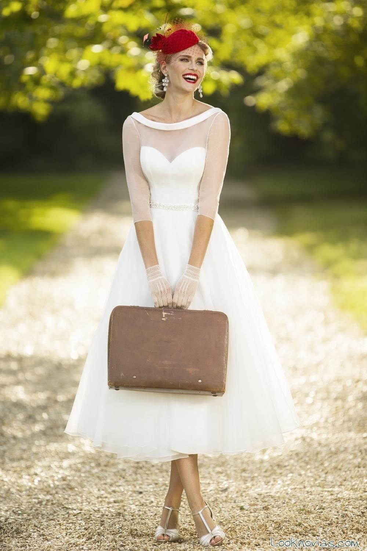 vestido media manga novias en blanco