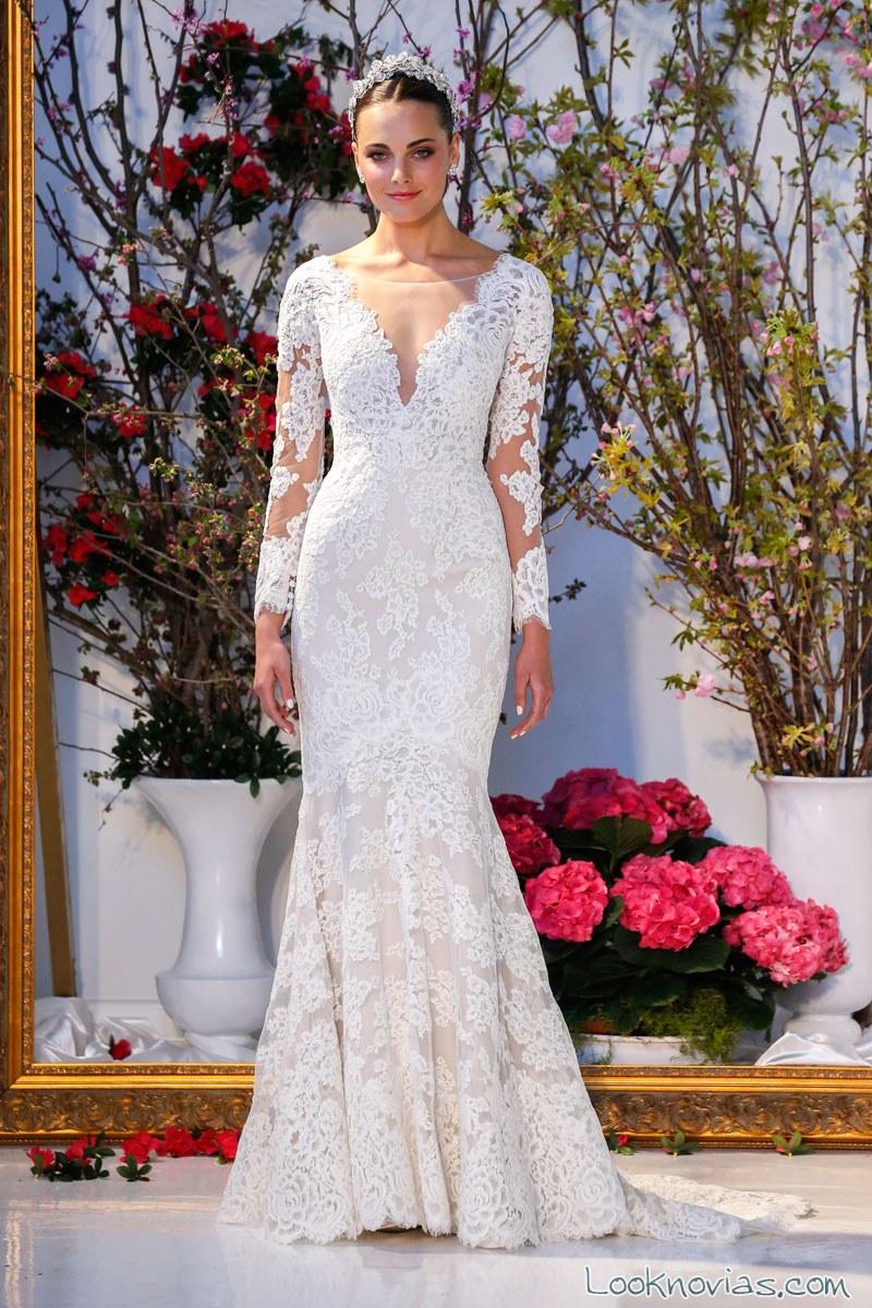 vestido novia anne barge mangas de encajes