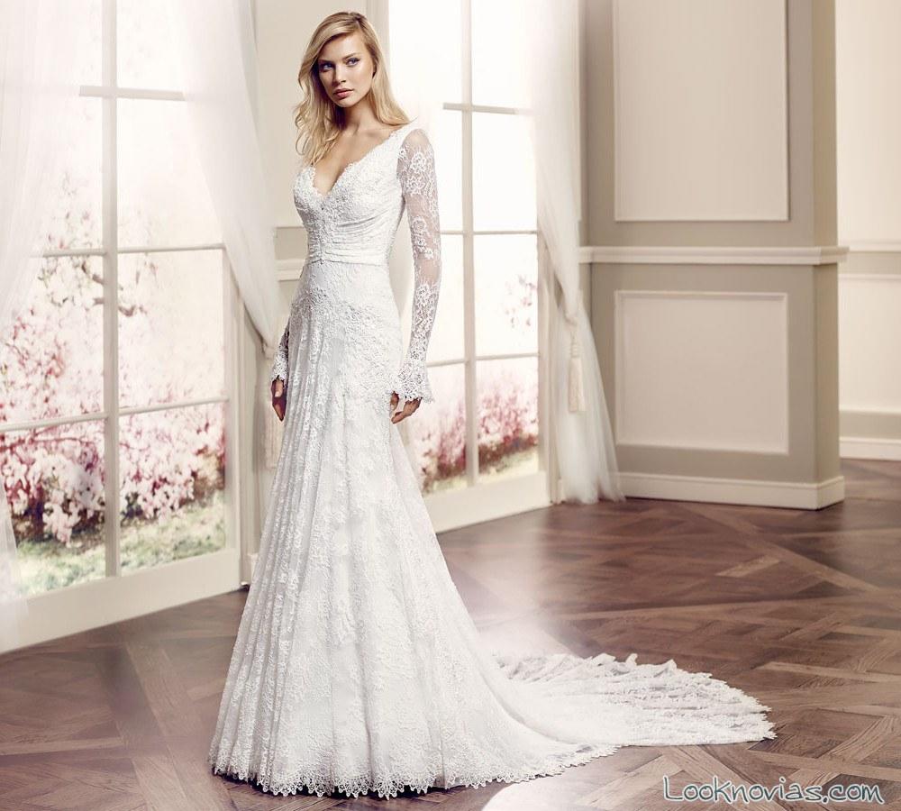 vestido novia con mangas modeca
