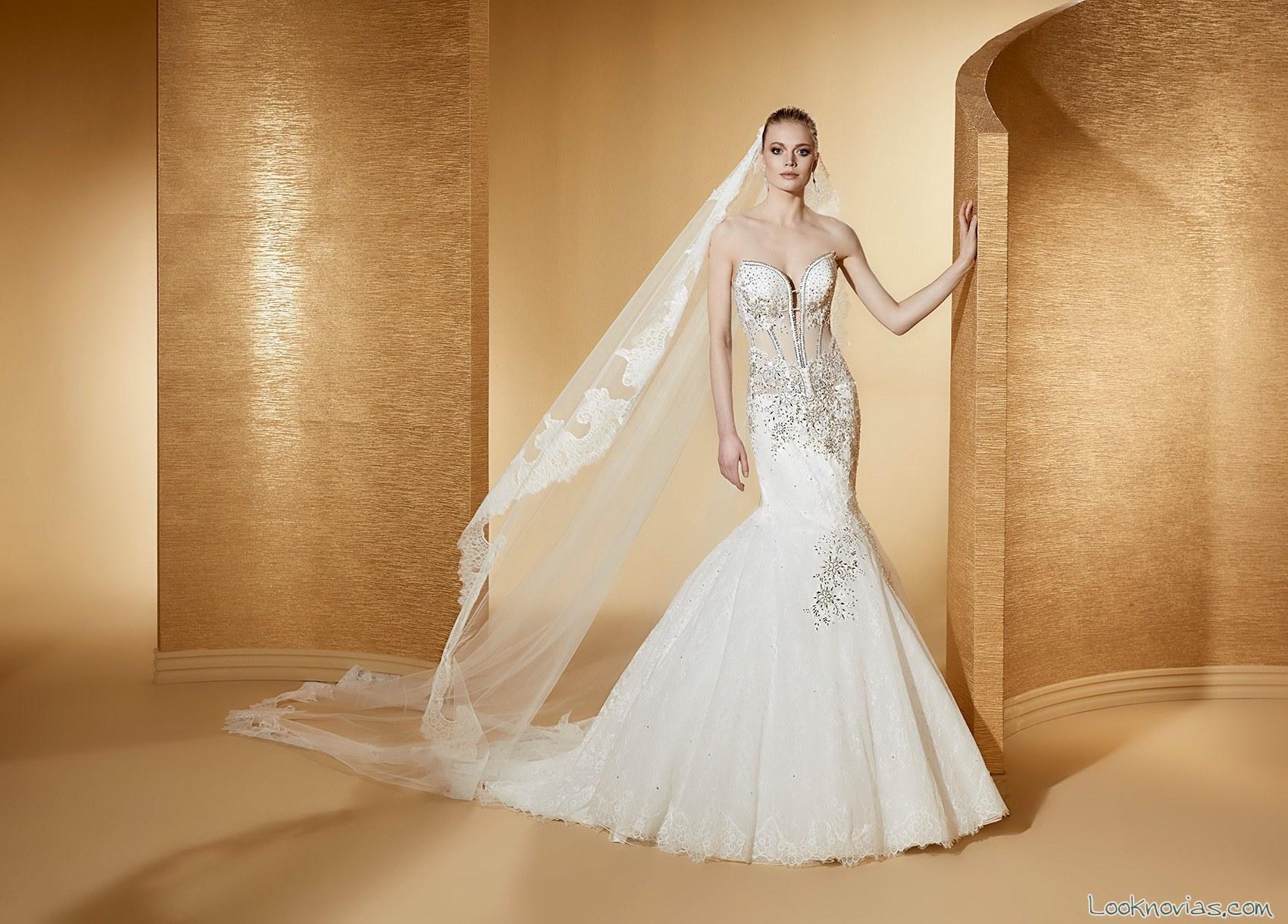 vestido novia cuerpo transparencias nicole spose
