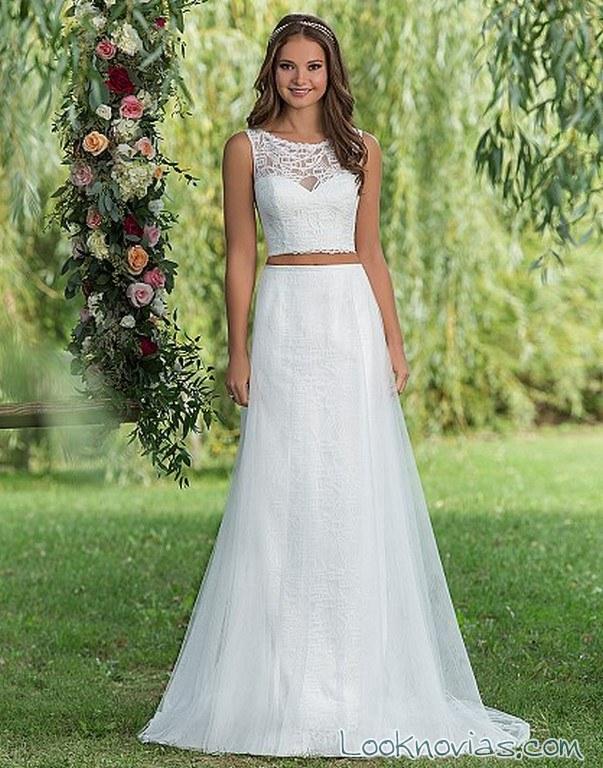 vestido novia dos piezas sweetheart