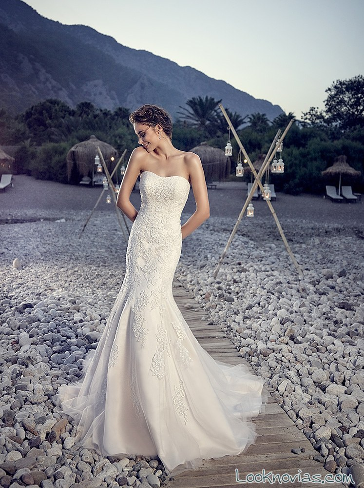vestido novia eddy k strapless
