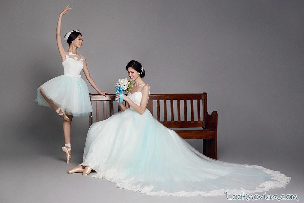 vestido novia en color azul