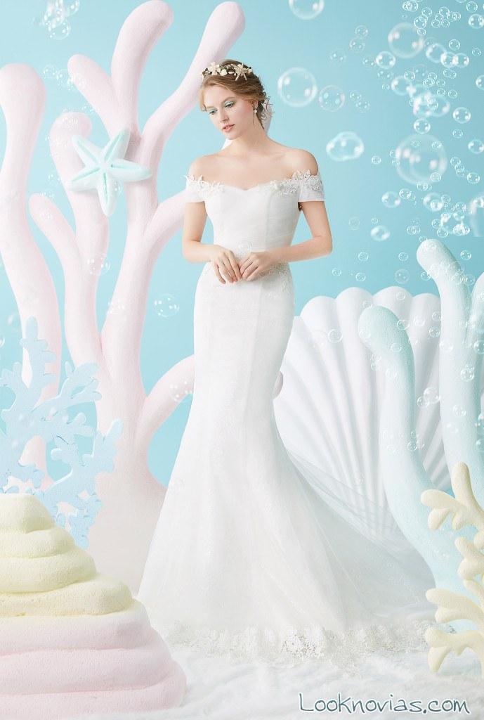 vestido novia escote hombros caídos