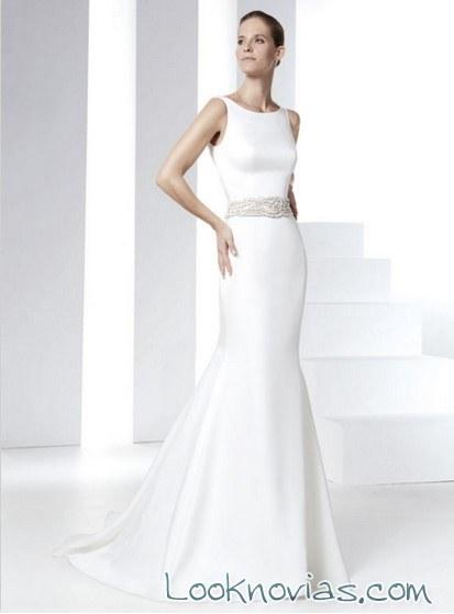 vestido novia escote redondo