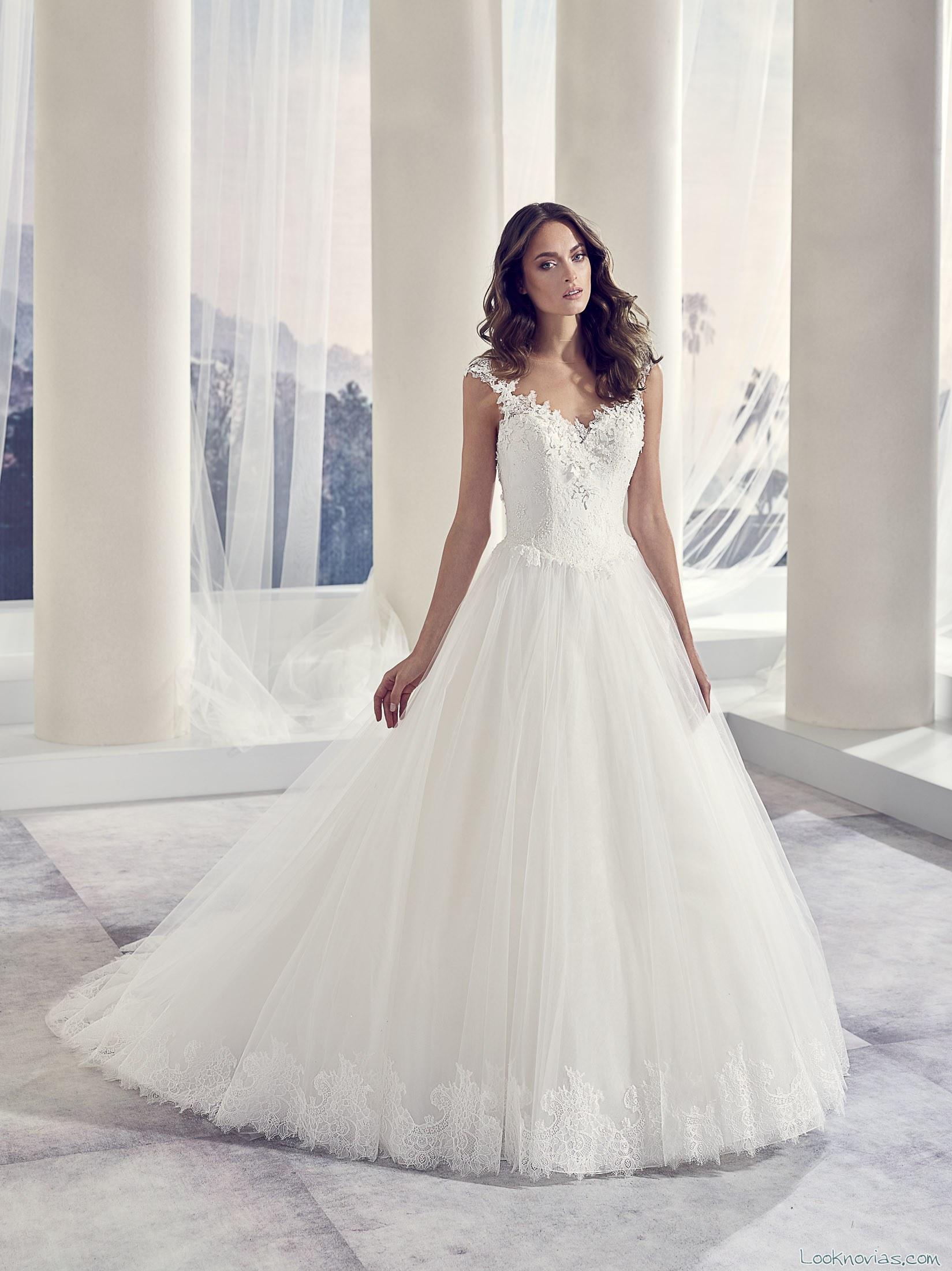 vestido novia falda volumen modeca