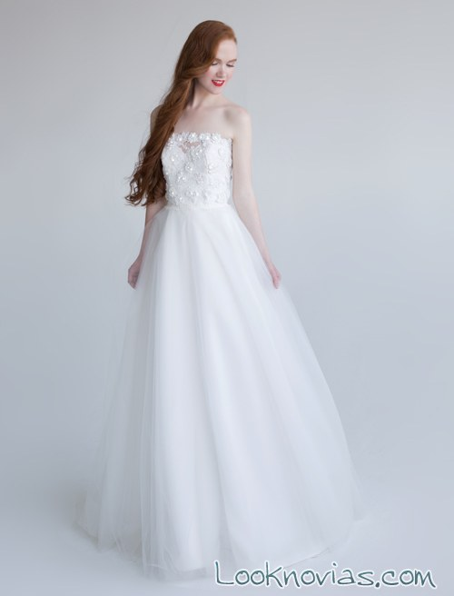 vestido novia largo evasé