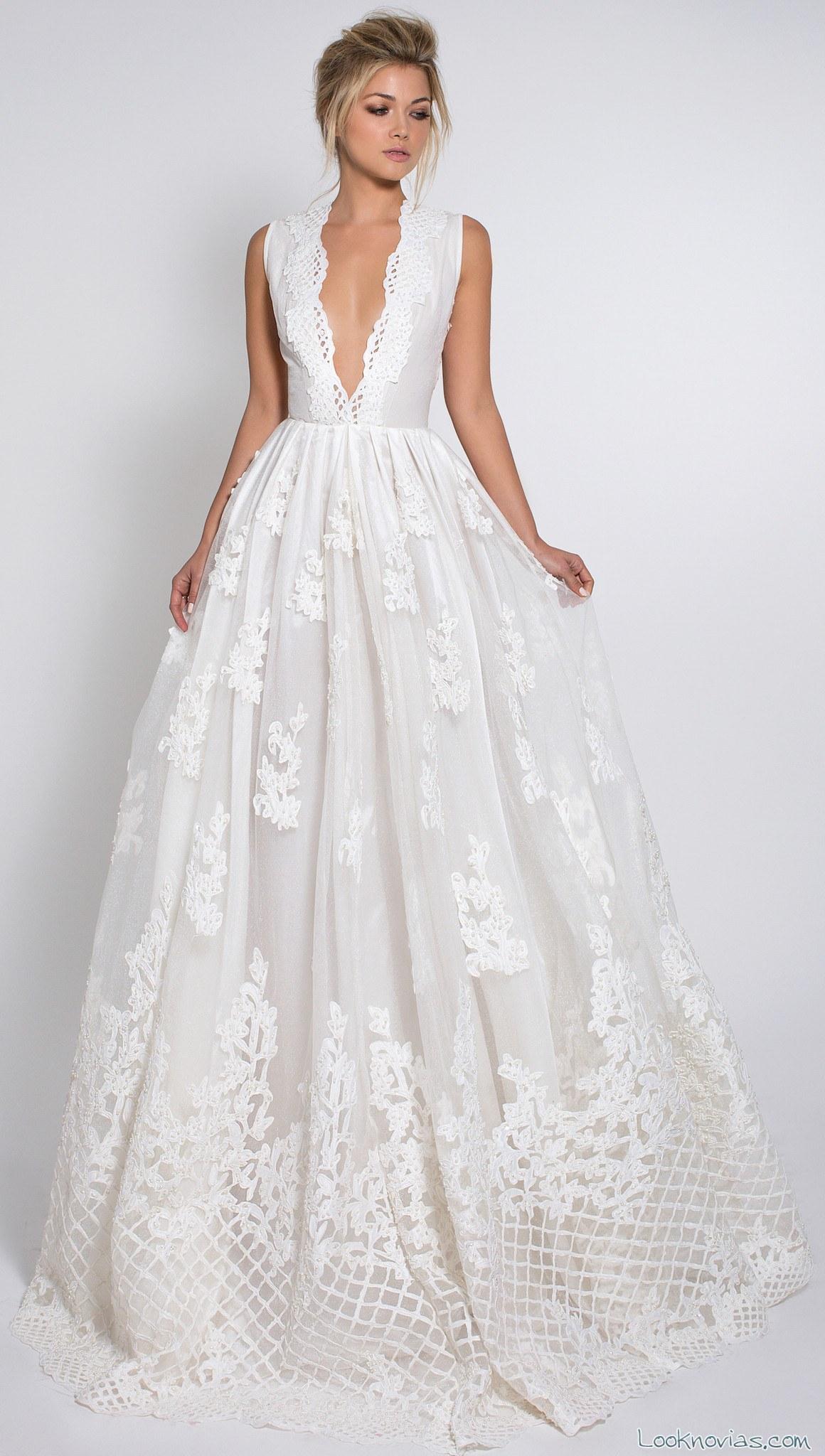 vestido novia tirantes anchos con bordados