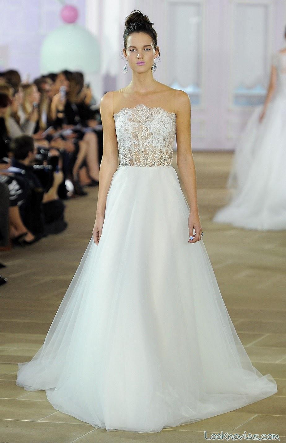 vestido novias blanco evasé de gasa