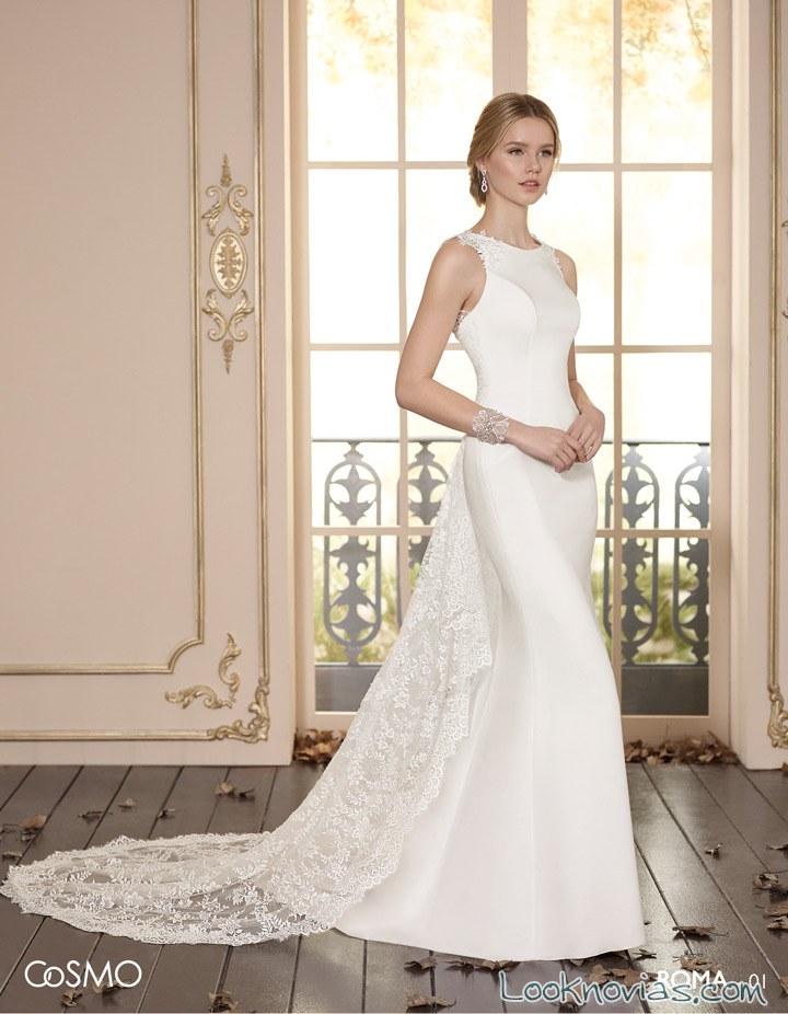 vestido novias cosmo escote alto 2017