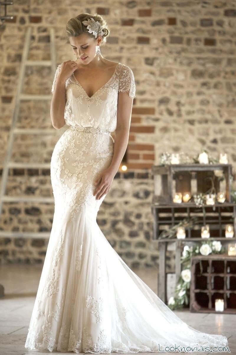 vestido novias escote pico true bride