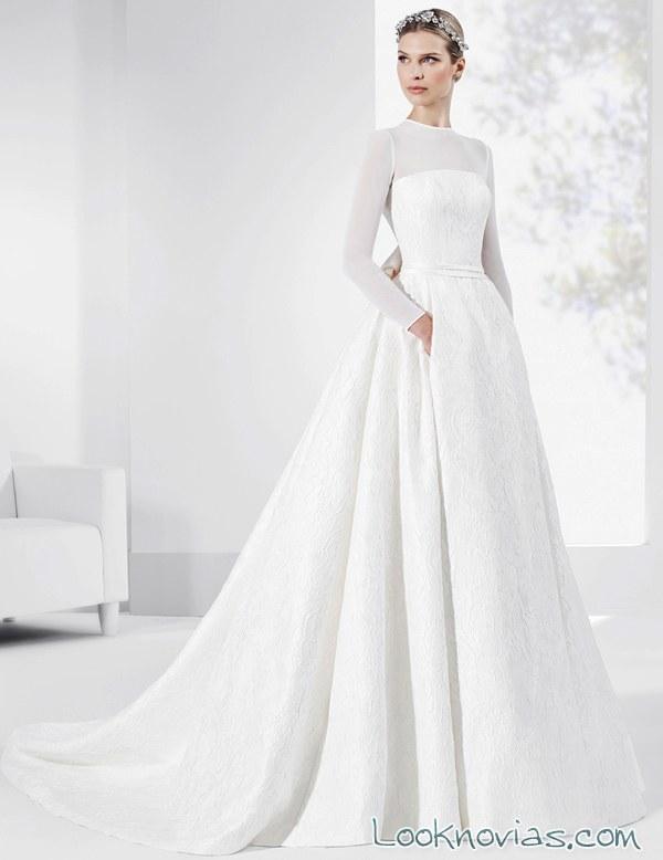 vestido novias evasé fran sarabia con mangas