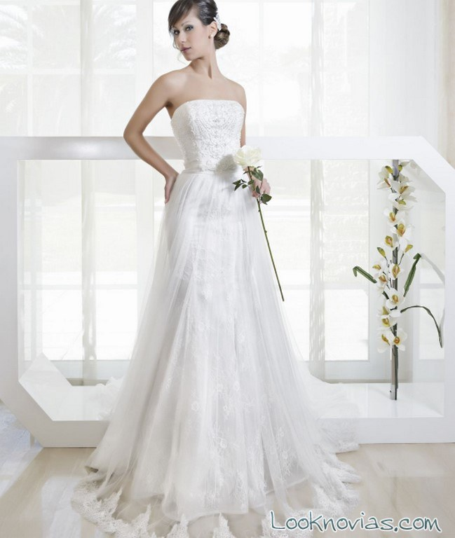 vestido novias evasé strapless